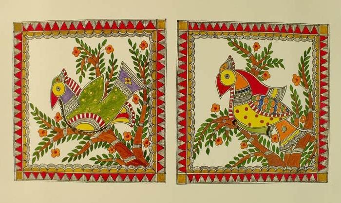 Madhubani Paint, Paradise Bird