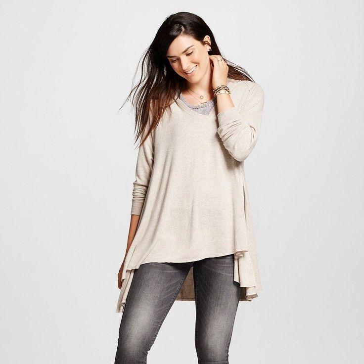 Women's Long Sleeve Hoodie with Side Split Beige XS - Mossimo