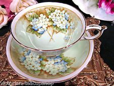 PARAGON TEA CUP AND SAUCER PALE GREEN & VIOLETS PATTERN TEACUP WIDE MOUTH