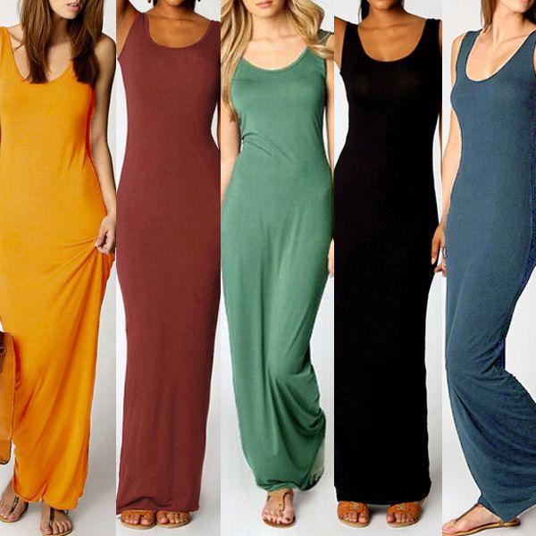Women Summer Dress 2015 Tank Top Ankle Length Long Maxi Cotton Dress Ladies Celebrity Party Casual Dress vestido de festa curto