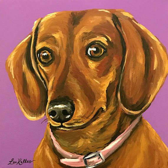 Dachshund Art Print From Original Dachshund Painting Red