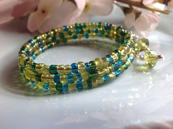 Memory wire bracelet seed bead bracelet by DakotaDesignsbyVicki