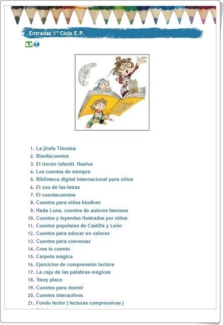 """La """"Biblio"""", del Colegio José Calderón de Málaga, para 1º y 2º niveles de Educación Primaria, da la oportunidad de acceder a cuentos, especialmente audiovisuales, y a sitios literarios que son útiles para particulares y para centros educativos. Esta recopilación supone una verdadera biblioteca digital para las edades de 6 a 7 años."""