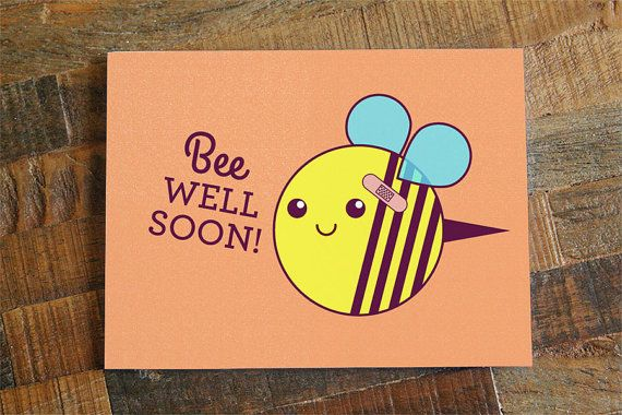 "Get Well Soon Card ""Bee Well Soon"" - Bee pun card, funny get well, cute card, cute bee, yellow bee, honeybee card, orange salmon"