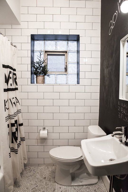 blanc et noir - Small Bathroom Ideas Apartment Therapy