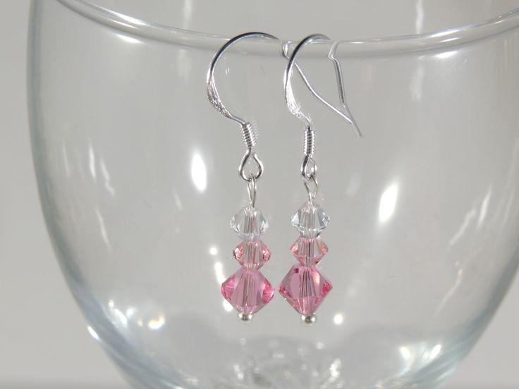 Pink Swarovski Crystal stamped 925 sterling silver earrings