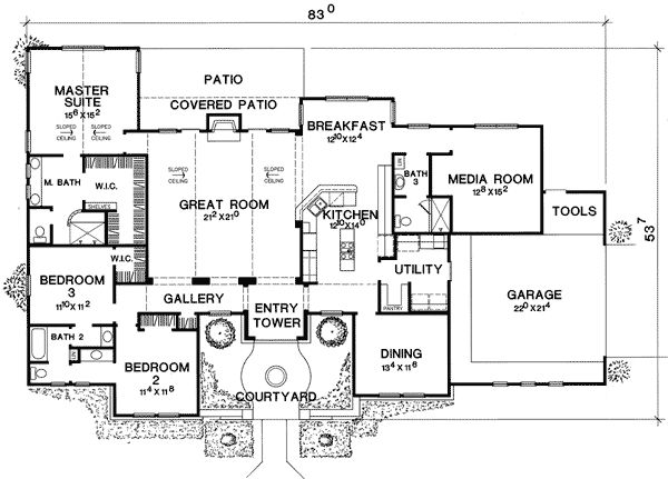 Plan 31129D: Media Room With Guest Room Options