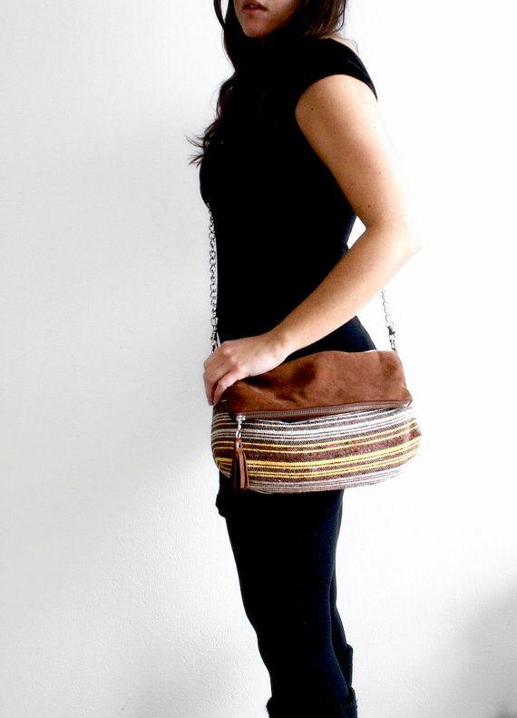 Boho Foldover Chain Bag / Large Shoulder Bag /Leather by morelle, $95.00