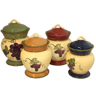 @Overstock - Versatile and indispensable in the kitchen the Napa Vineyard Canister set is a simple and classic storage solution. From sugar and spice to everything nice, these canisters look great while keeping ingredients fresh.  http://www.overstock.com/Home-Garden/Napa-Vineyard-Hand-painted-4-piece-Canister-Set/7344084/product.html?CID=214117 $75.99