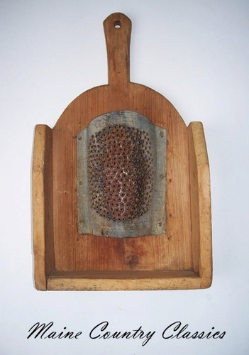 Antique WOOD & PIERCED TIN FOOD GRATER Hand Made Primitive