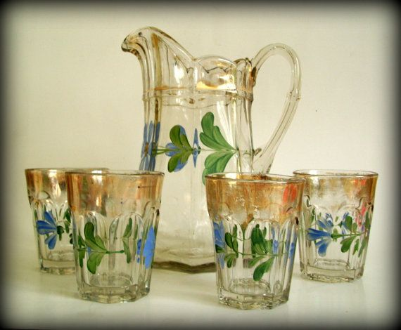 Vintage Gl Pitcher Hand Painted Flowers Gold Green And Blue Matching Gles Shabby Chic Bohemian Decor Set