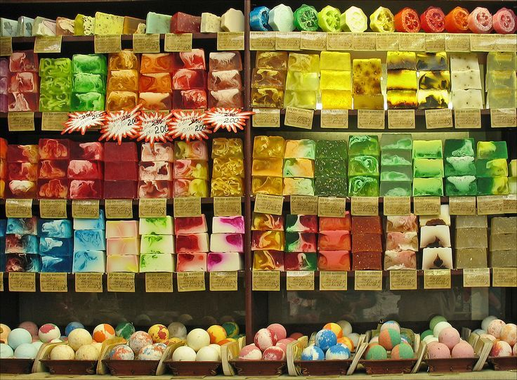 Colorful soap display photographed in a Latvian market found on flickr.com