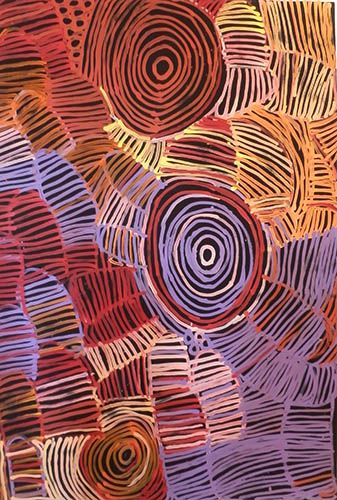 Minnie Pwerle - Awelye Atnwengerrp, 2006 - Acrylic on linen, 122 x 180 cm. Minnie was born c. 1915 near Utopia, north-east of Alice Springs in central Australia. In about 1945, Minnie had an affair with a married man, Jack Weir. A relationship such as that between Minnie and Weir was illegal, and the pair were jailed. Minnie had a child from their liaison, who became prominent Indigenous artist Barbara Weir.