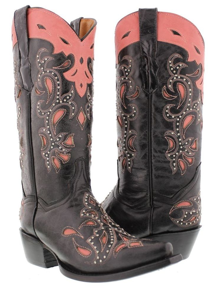 Women's Catania Black Pink Studded Western Leather Cowboy Cowgirl Rodeo Boots #CowboyProfessional #CowboyWestern #Casual