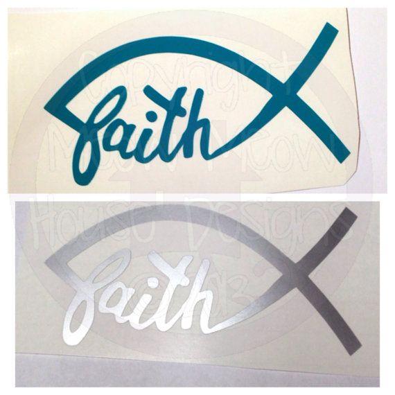 Faith Jesus Fish Car Window Decal - Christian Fish - Gift for Sorority Sister, Mom, Friend, CYO, Young Life
