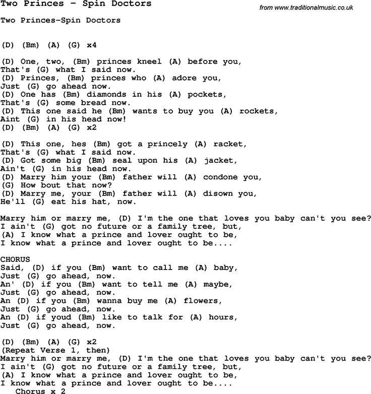 Song Two Princes by Spin Doctors, with lyrics for vocal performance and accompaniment chords for Ukulele, Guitar Banjo etc.