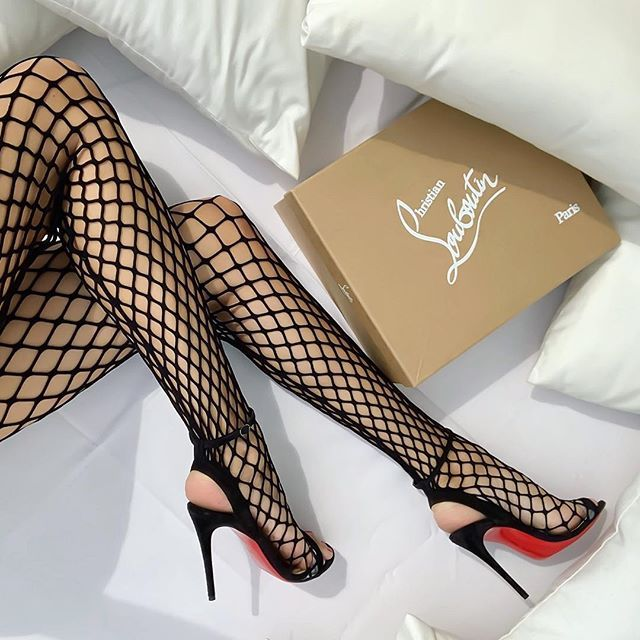 new product a21cc 23222 Christian Louboutin Zoom 100mm fishnet sandals. | WERKKK! in ...