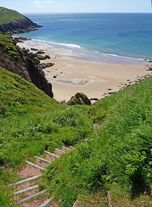 The steps down to Porth Melgan, Pembrokeshire. Almost all my childhood summers were spent on this beach.