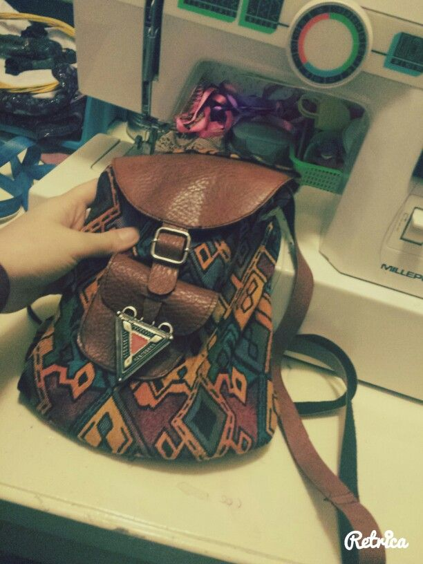 etnic hippie geometric multicolor backpack      handmade by me