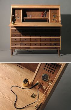 Modeled after 19th-Century writing desks (remember those?) this high-tech workbench features 26 drawers for storage and a spacious worktop that features a built-in computer, sound system and soldering station plus a unique lighted planetarium locking mechanism.