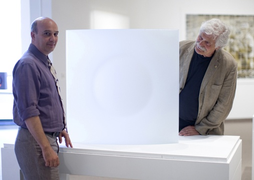 2012 Tom Malone Prize Winner  The Art Gallery of Western Australia is delighted to announce that the winner of the 2012 Tom Malone Prize for contemporary glass artists is Brian Corr for his work Ensō.    Stefano Carboni and Klaus Moje viewing Brian Corr's winning work Ensō.