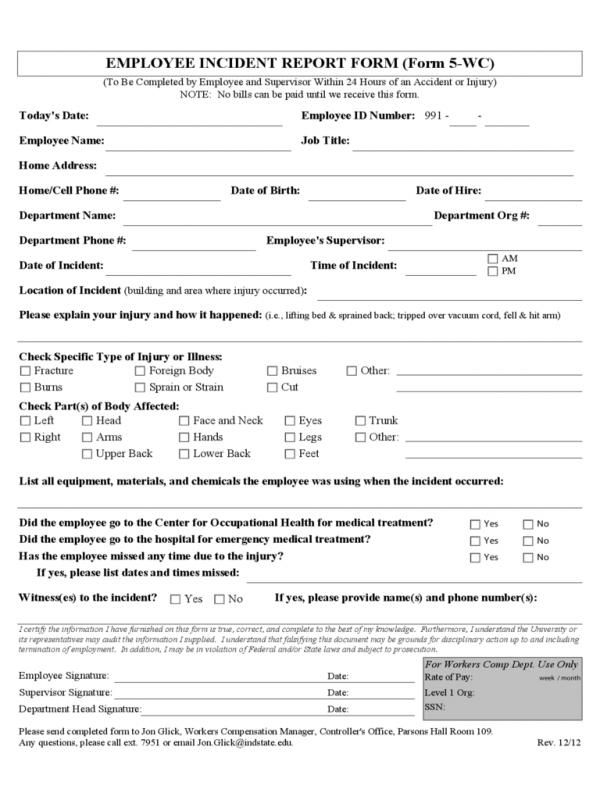 Employee Accident Report | template | Incident report form