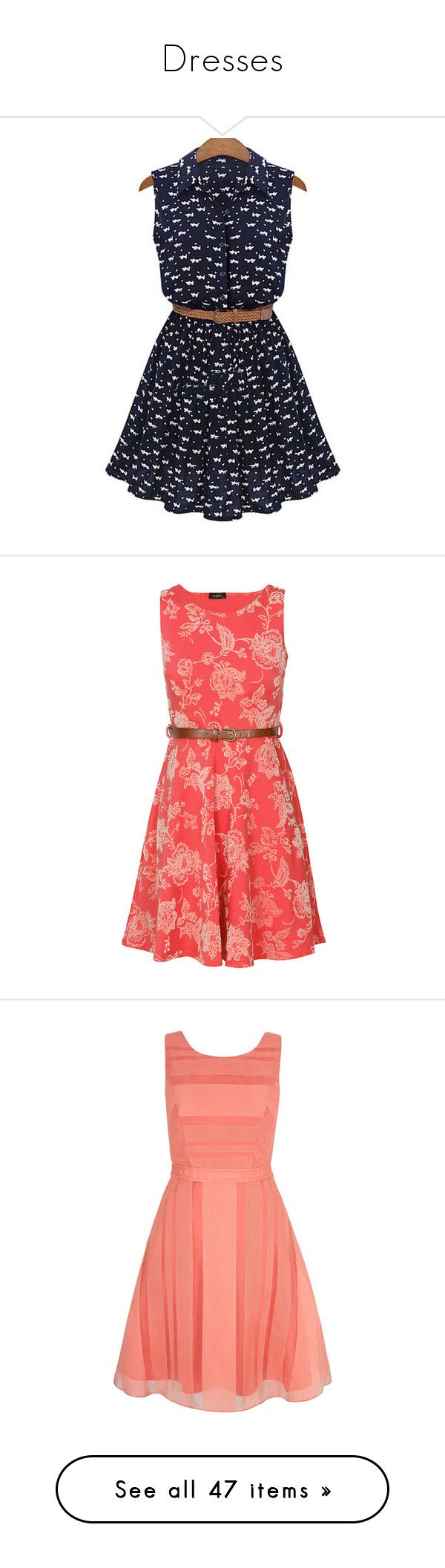 """""""Dresses"""" by missbeth1897 ❤ liked on Polyvore featuring dresses, vestidos, robe, t-shirt dresses, cat print dress, shirt dresses, navy blue short dress, short sleeve dress, coral dresses and pink skater dress"""