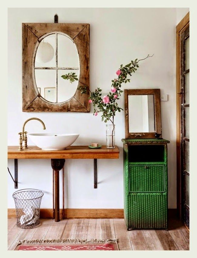 Sweet County House Bathroom With Wooden Details, A Golden Faucet, Retro  Furniture And A
