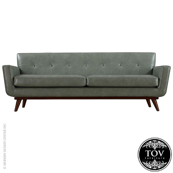 Tov Furniture Lyon Smoke Grey Leather Sofa
