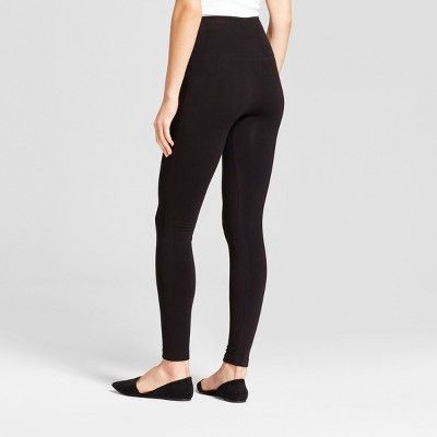 Women's Cotton Blend Fleece-Lined Seamless Leggings with 5 Rise - A New Day Black L/XL