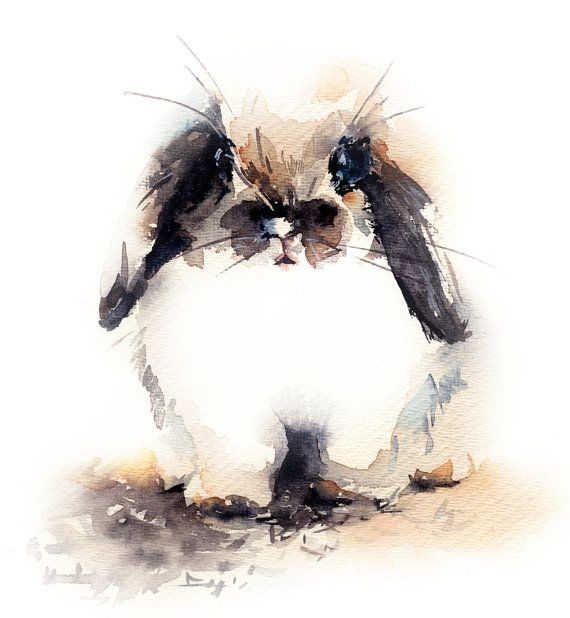 Bunny Watercolor Print Watercolor Painting Fine by CanotStopPrints