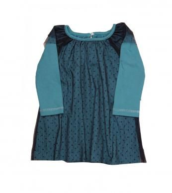 plain dress with mesh.  Mesh is 100% polyester , dress is 93% cotton and 7% spandex. Excluding trims.