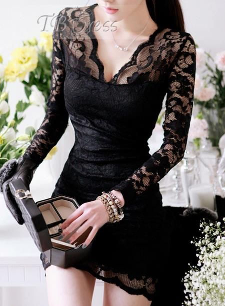 I would love to be Gifted with...Hot Lace Long Sleeve Slim Mini Dress
