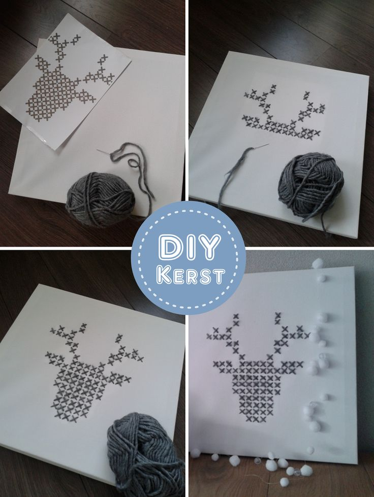 DIY:  Kerstversiering kruissteek rendier