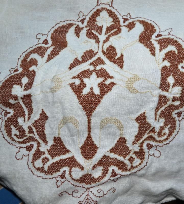 Antique Embroidered Historism linen tablecloth Byzantine / Seljuk / Islamic