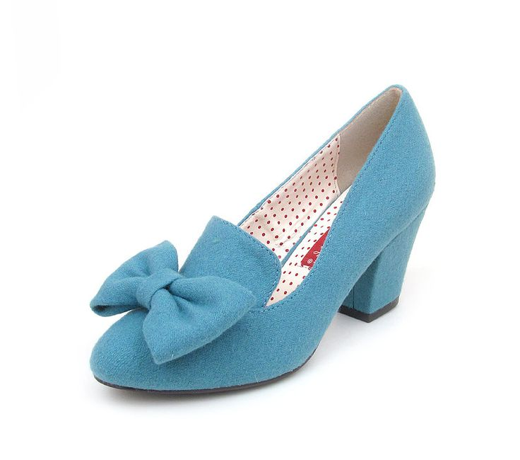 Baits 'Hippy' whimsical bow front detail, block heel step in ladies pump in Dusty Blue