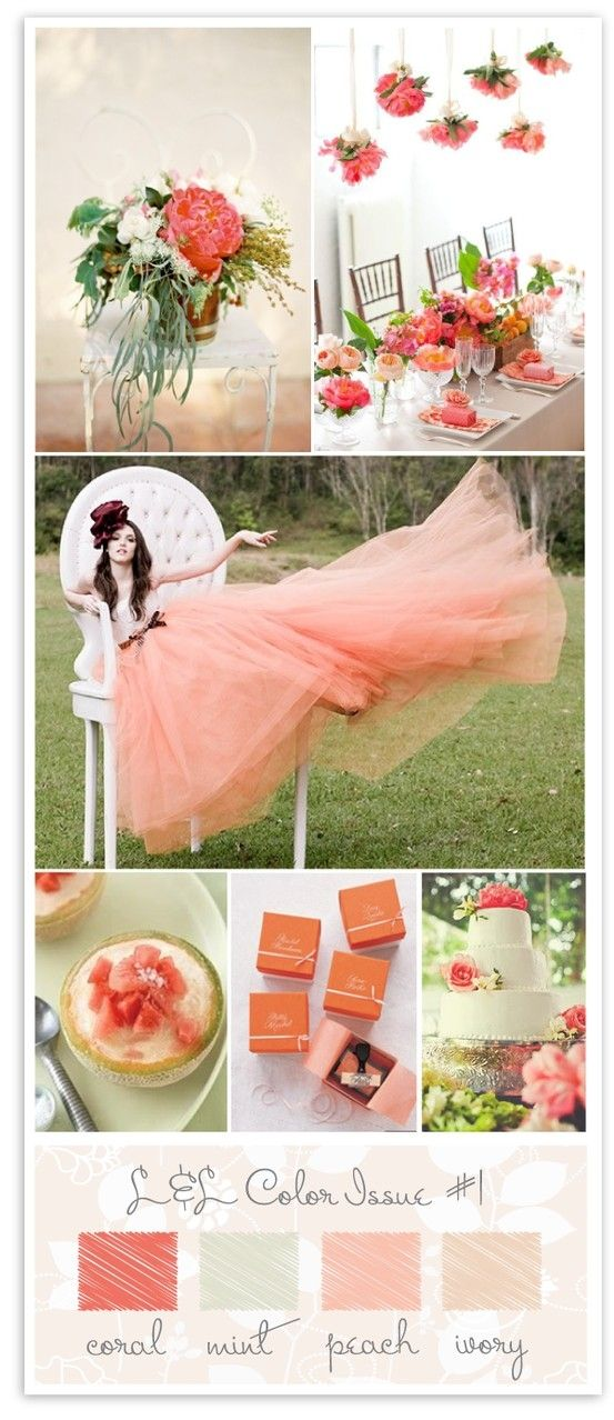 #peach #coral & #mint #wedding details by sophia