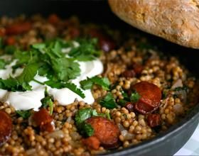 Spiced Pearl Couscous with Chrizo.