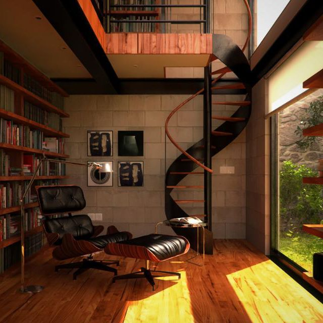 Eames Lounge ChairLounges Chairs, Spirals Staircases, Dreams Libraries, Spirals Stairs, Home Libraries, Book, House, Spiral Staircases, Reading Room