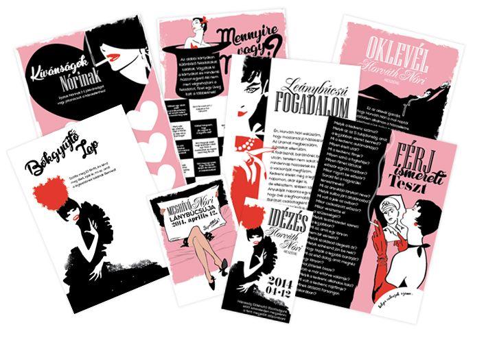Hen Party Invites / Bachelorette Party Invitation / Lánybúcsú oklevél, fogadalom, idézés, meghívó, játékok