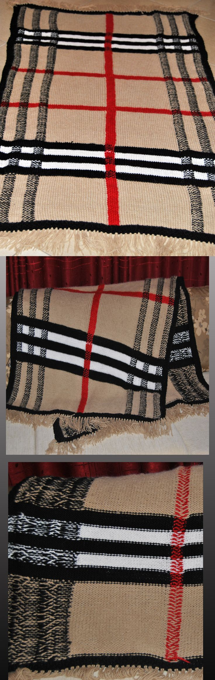 Blanket Burberry  OLGA   knitting for home - 1.2 kg, 1.00-160 cm/ Alize alpaca royal 262 color-0.6 kg, black- 100-150 gr, white and red. плед шерстяной спицами Барберри.