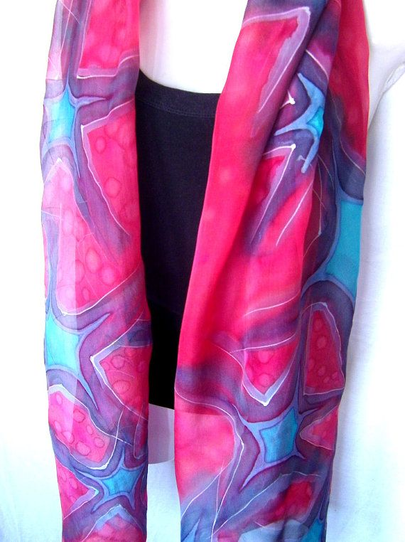 Hand painted silk scarf, 71 inches long, red and blue, with silver abstract stars, in red with accents in navy blue and turquoise, made of airy silk chiffon 6.5 fabric, one of a kind, handmade women fashion accessory by Silkshop on Etsy. This scarf is one of a kind item, completely hand
