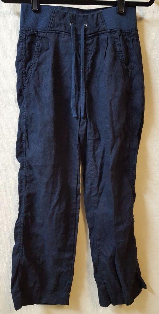 Athleta Yoga Pants Size 0 XS Blue 100% Linen 26 X 28 Pockets  Drawstring Waist #Athleta #PantsTightsLeggings