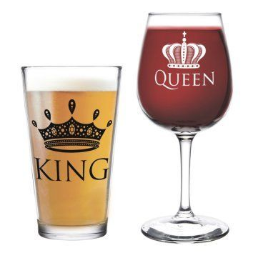 King Beer Queen Wine Glass- 16 oz. Pint Glass, 12.75 oz. Wine Glass - Cool Present Idea for Wedding, Anniversary, Newlyweds, and Couples- Mom and Dad, Him or Her, Mr. Mrs. (Set of 2)  The best gag gifts for 2017 are the ones your friends and family will remember.   Most people appreciate a good practical joke and these will give you some great gag gift ideas for Christmas 2017.  There are practical joke ideas for both men and women.   You will definitely make them laugh out loud at your…