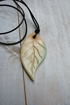 ceramic leaf pendant by earthformsbymarie on Etsy, $20.00