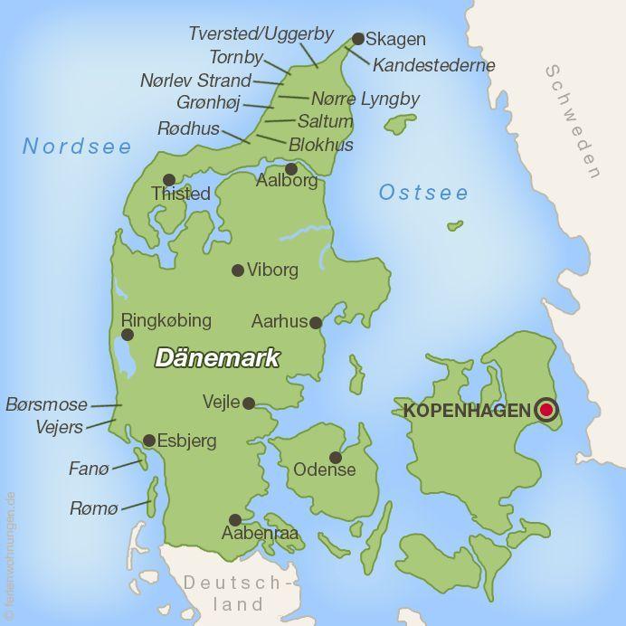 Karte Aller Autostrande In Danemark Aller Autostrande