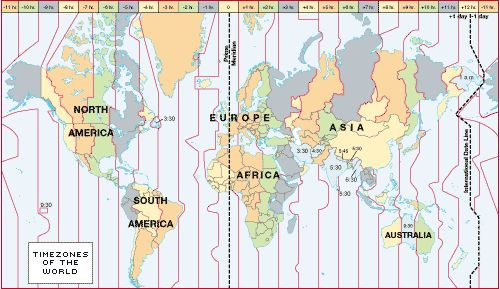 map of world showing time zones