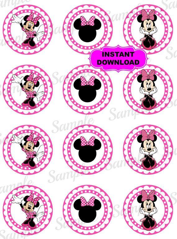 "Minnie Mouse 2"" Cupcake Topper - Mickey Mouse para imprimir - Disney inspirado Digital - fiesta de cumpleaños - descarga inmediata - cumpleaños etiqueta"
