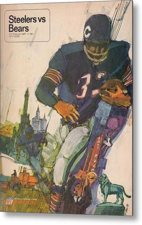 Bears Metal Print featuring the photograph Chicago Bears Vintage Program 9 by Joe Hamilton