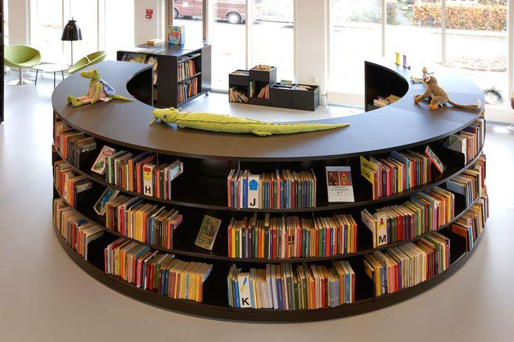 school library shelving | Steel Radius Shelving Great For Modern Library Design